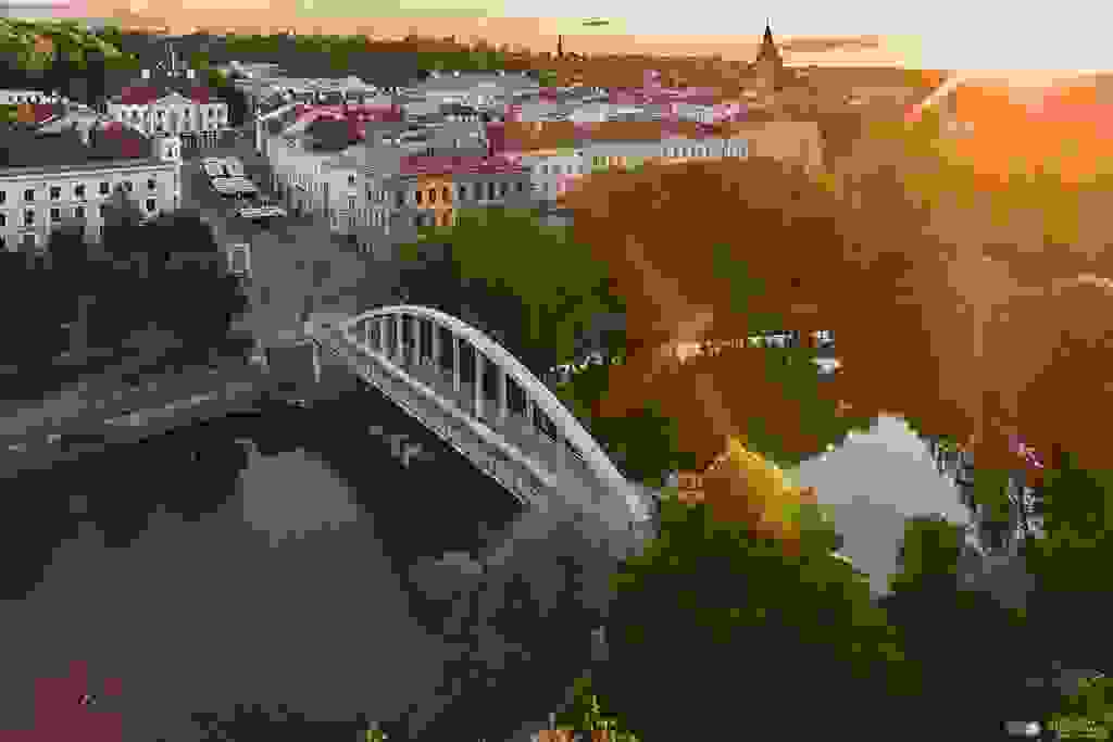 Arc bridge and Tartu old-town