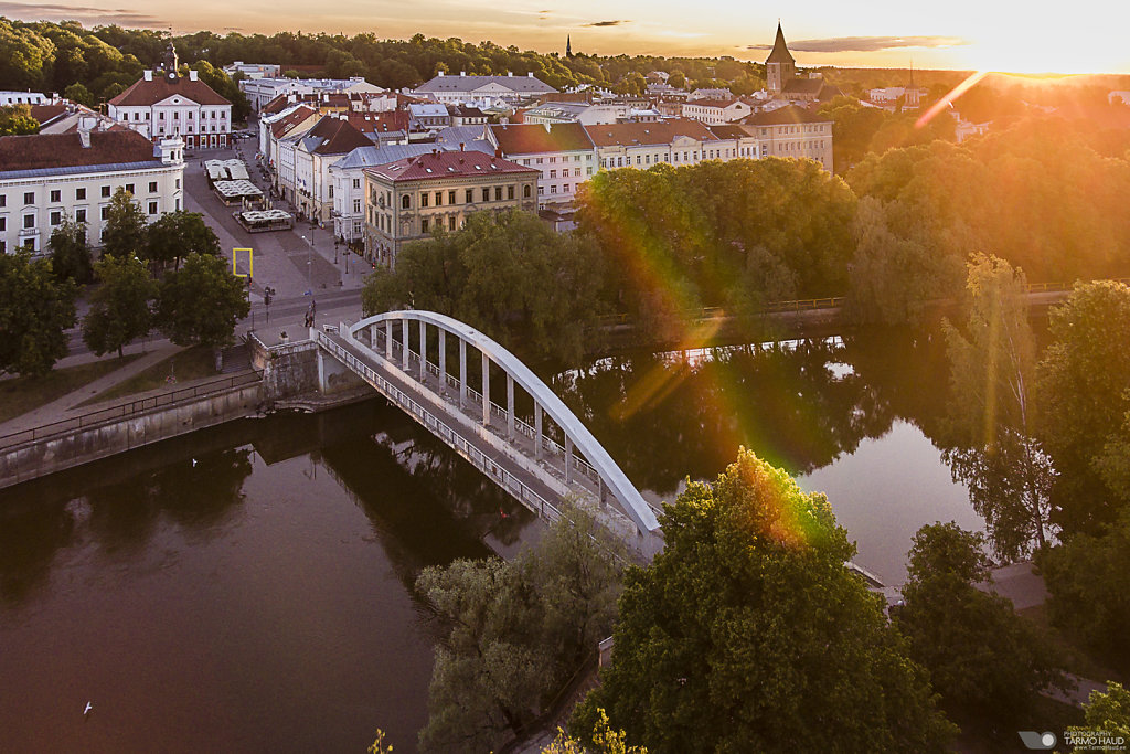 Arc bridge and Tartu old-town